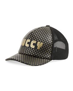 GUCCI GUCCY LOGO-FRONT BASEBALL CAP. #gucci # Smooth Leather, Black Leather, Fashion Show Invitation, Stamp Printing, Gold Print, Print Packaging, Back Strap, Black Pattern, Gold Stars