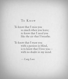 To Know by Lang Leav