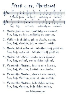 Píseň o sv. Aa School, School Clubs, Music For Kids, Kids Songs, Brag Tags, Kids And Parenting, Sheet Music, Teaching, Martini