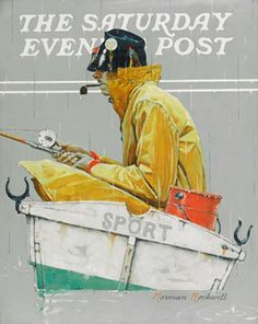 "'Sport,' the missing Norman Rockwell oil on canvas.  Workers at Welpak Art Moving and Storage at 58-60 Grand Ave. in Ridgewood realized the painting, titled  ""Sport,"" was missing at 7 p.m. Sept. 13.  The work was about to be shipped to its new owner, but workers discovered it had been pinched, cops said.  The 22-by-28 canvas oil painting shows a fisherman in a yellow raincoat braving the drops in a rowboat as he holds a fishing pole.   Tough Guy Classic!"