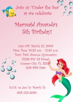 Ariel Birthday Party Ideas   Birthday invite