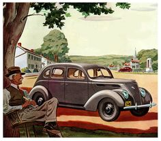 Reaxing in the Shade and Admiring that New Ford Car Ford, Ford V8, Pontiac Grand Prix, Monaco Grand Prix, Old Classic Cars, Car Illustration, English Artists, Ad Art, Car Pictures