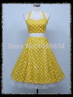 free shipping 1950S  yellow polka dot halterneck rockabilly dress S-6XL