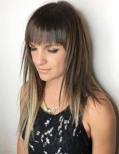 Long Layered Haircut With Bangs Long Asymmetrical Hairstyles, Asymetrical Haircut, Short Layered Haircuts, Easy Hairstyles For Long Hair, Straight Hairstyles, Uk Hairstyles, Edgy Haircuts, Hairdos, Long Hair With Bangs