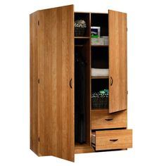 Sauder Beginnings Storage Cabinet Highland Oak Wardrobe Armoire for sale online Wardrobe Storage Cabinet, Storage Cabinet With Drawers, Wardrobe Cabinets, Closet Storage, Storage Cabinets, Dvd Storage, Storage Units, Drawer Storage, Oak Wardrobe