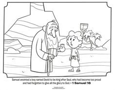 Samuel Anoints David - Bible Coloring Pages Bible Stories For Kids, Bible Story Crafts, Bible For Kids, Sunday School Activities, Sunday School Lessons, Sunday School Crafts, School Resources, Bible Coloring Pages, Cool Coloring Pages