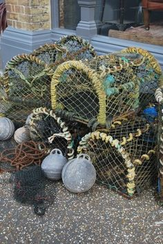 A collection of original lobster pots, wonderful decorative pieces perfect for the garden or these could be used in a seaside themed display in a retail environment. Olive Kitteridge, Port Isaac, Seaside Garden, Octopuses, Dream Rooms, Fishing Boats, Bedroom Ideas, Christmas Wreaths, Pots