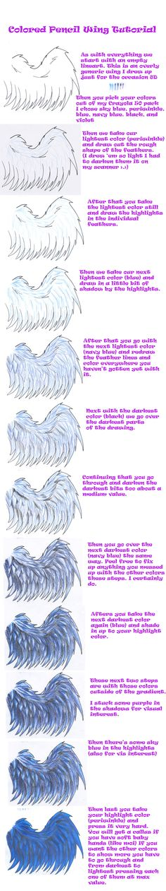 Colored Pencil Wing Tutorial by ~Ferret-X on deviantART