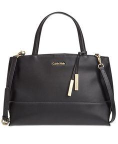 f0192fb8bc Calvin Klein Triple Compartment Premium Leather Satchel & Reviews -  Handbags & Accessories - Macy's