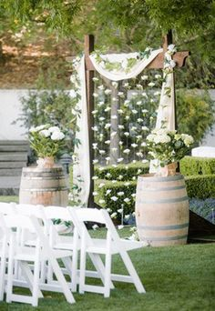 country rustic vineyard wedding backdrop ideas with wine barrels