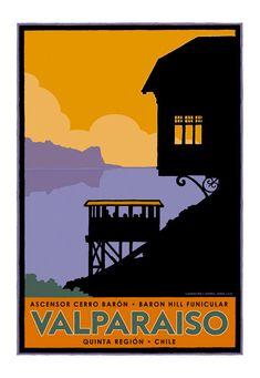 Poster Ascensor Barón - Valparaíso por IlustradorJotaLillo / Barón Elevator - Valparaíso by JotaLillo Ilustrator
