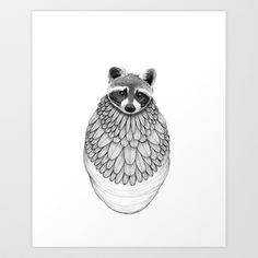 Raccoon- Feathered Art Print by Jess Polanshek - $17.00