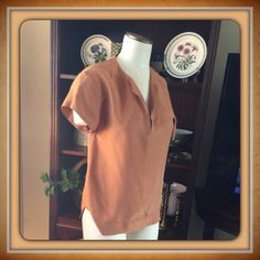 ZARA SILK TOP.    NWT Zara cinnamon silk blouse  in a Small.👠🍷 Zara Tops