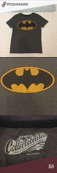 Batman Short Sleeve Shirt Boys size medium (8) Batman short sleeve t-shirt in dark gray. In good gently used condition. No known holes or stains. Comes from pet & smoke free home. Old Navy Shirts & Tops Tees - Short Sleeve
