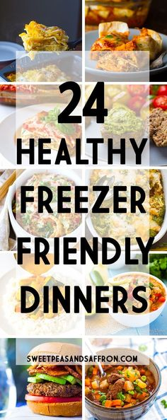 24 Healthy Freezer-Friendly Dinner Recipes easy lasagna soup stew burgers casseroles and more! Freezer Friendly Meals, Make Ahead Freezer Meals, Freezer Cooking, Easy Meals, Cooking Oil, Microwave Freezer Meals, Meal Prep Freezer, Freezer Lasagna, Freezer Soups