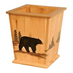 Wood Black Bear Waste Basket