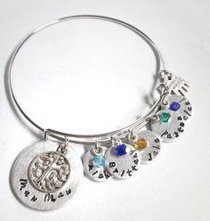 Personalized Bracelet - Grandma Bracelet - Meme Bracelet - Family Bracelet - Hand Stamped Bracelet - Charm Bracelet - Children Name Bracelet by ImpressionsbyJacleen on Etsy