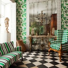 Antique room style, modern pattern & color /Lorenzo Castillo Treillage mirrored wall wallpaper