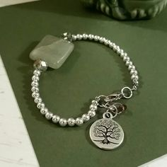 """Tree of life bracelet Beautiful green Aventurine, Tree of life bracelet. The aventurine stone resembles creativity,  imagination, independence,prosperity, calmness, career success and balance! Aventurine is known as the stone of  """"opportunity""""! This is the perfect bracelet for everyday wear! Jewelry Bracelets"""