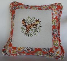 Pillow Fox  BOHEMIAN  FOLK  WHIMSICAL  home by KatesCreativeCabin