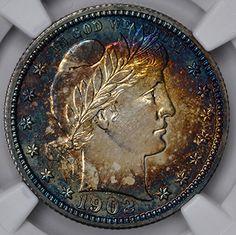1902 25C PR68 NGC  http://www.collectorscorner.com/Products/Item.aspx?id=15398597  #BarberQuarter #Numismatic #Coin #Beautiful #TonedCoin #WorldofColor #ElectricBlue #Online #Collectible #Marketplace #Collectors #NGC #RareCoin #Quarter