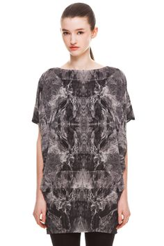 Ethel Tunic by Valerie Dumaine.  Printed chiffon tunic with pleats.
