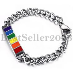 Edelstahl Armband Armreif Armkette Regenbogen Gay Pride Lesbian LGBT Schwule