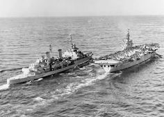 HMS BELFAST approaching HMS OCEAN prior to the transfer of Rear Admiral Scott-Moncrieff, Flag Officer, Second in Command, Far East Station from his flagship HMS BELFAST to HMS OCEAN to observe air operations against targets in north-west Korea.