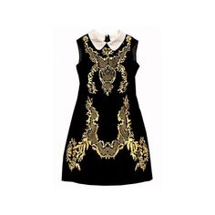Black Sleeveless Embroidery Back Zipper Dress ($59) ❤ liked on Polyvore