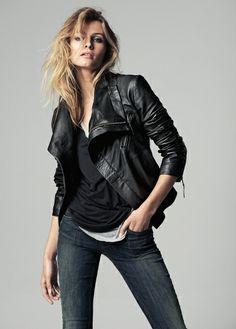 Maxi flap leather jacket