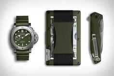 Panerai Submersible Verde Militare Watch <> Ridge Aluminum Wallet <> Gerber Fastball Folding Knife.
