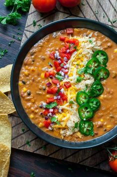 Vegetarian Lentil Tortilla Soup (Instant-Pot + Slow Cooker)