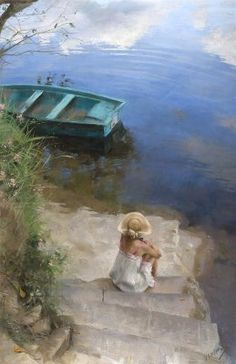 Young Lady, River and One Boat Oil Painting