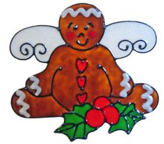 Country Gingerbread Angel Window Cling