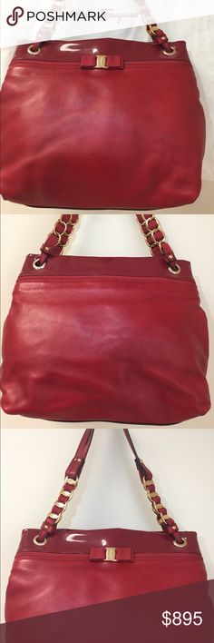 Red Salvatore Ferragamo Leather Satchel Bag Red Salvatore Ferragamo Designer Leather Satchel Bag with white Ferragamo Pouch.    Well kept and stored for a vintage collection. Ferragamo Bags Satchels