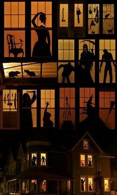 Window Silhouettes. Halloween Idea