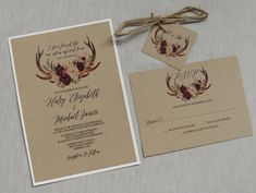 Rustic Boho Chic Wedding Invitation, Rustic Wedding Invitation, Floral Antlers, Marsala Floral, Floral Wedding Invitation, Blush Pink, This wedding invitation is perfect for your boho chic, rustic wedding! Impress your wedding guests with this gorgeous & professionally designed custom