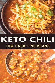 This hearty keto chili features tons of meat, peppers, spices and tomatoes! At just net carbs per serving this low carb, no bean chili will a family favorite! free dinner recipes Easy Keto Chili (low carb + no bean chili) - Maebells Keto Chili Recipe, Chili Recipes, Mexican Food Recipes, Dessert Recipes, Breakfast Recipes, Low Carb Chili Recipe No Beans, Easy Cheap Chili Recipe, Diet Breakfast, Low Carb Chilli