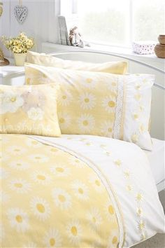 Sumptuous bedding sets for a cosy feel. Create a beautiful bedroom with single, double and king bed sets. Girls Bedroom, Bedroom Decor, Bedrooms, My New Room, My Room, Yellow Bedding Sets, Bedroom Yellow, Yellow Comforter, Yellow Cottage