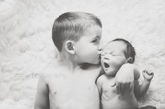 newborn baby and big brother picture