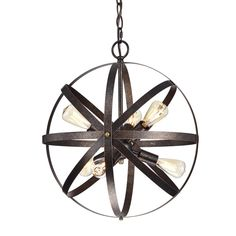 This spherical chandelier is sure to be a focal point and a conversation piece with its classic lines and styling. This piece features six candelabra style lights encased in an antique copper globe style cage. Modern Farmhouse Lighting, Rustic Farmhouse Decor, Country Farmhouse, Rustic Kitchen, Rustic Decor, Texas Kitchen, Farmhouse Interior, Western Decor, Country Kitchen
