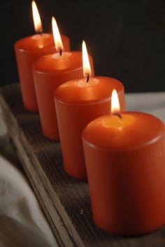 """Orange 3"""" Candles Unscented Mini Pillars Cotton Wick  (4 candles/pkg )  $5 pkg"""