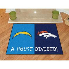 No one ever said your household had to cheer for only one team. Keep this San Diego Chargers - Denver Broncos NFL House Divided Mat by Fanmats in your home to let your loved ones and guest know your team is not to be reckoned with! Denver Broncos Gear, Broncos Fans, Broncos Logo, Cheap Large Area Rugs, Discount Shopping Sites, Bronco Sports, Nylon Carpet, House Divided, San Diego Chargers