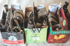 Groomsmen gifts in repurposed beer boxes. Suspenders, cigar, favorite beer, handkerchief and socks. Photo credit to Jane & Co. Groomsmen Gift Bags, Groomsmen Proposal, Bridesmaids And Groomsmen, Groomsman Gifts, Bridesmaid Gifts, Groomsmen Boxes, Beer Wedding, Gifts For Wedding Party, On Your Wedding Day