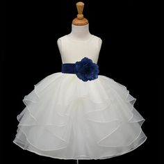 Ivory Flower Girl dress tie sash pageant wedding door ekidsbridalusa