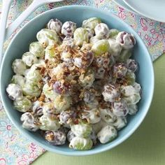 Creamy Grape Salad Recipe -Everyone raves when I bring this refreshing, creamy salad to potlucks. For a special finishing touch, sprinkle it with brown sugar and pecans. —Marge Elling, Jenison, Michigan