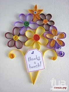 Paper Quilled  bouquet flowers Thank You