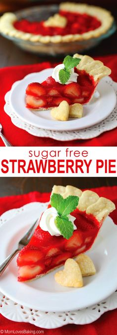 A slightly healthier, sugar free version of the Strawberry Pie from the Big Boy restaurant I remember having as a kid. Click pin to get the recipe from Diabetic Desserts, Mini Desserts, Low Carb Desserts, Diabetic Recipes, Healthy Desserts, Low Carb Recipes, Cooking Recipes, Diabetic Foods, Strawberry Recipes Diabetic