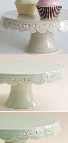 custom wedding cake stands what a great wedding present or you could put the family's last name on it.  akt