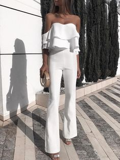 Shop Solid Ruffled Design Off Shoulder Jumpsuit right now, get great deals at joyshoetique White Outfits, Classy Outfits, Casual Outfits, Classy Casual, Look Fashion, Fashion Outfits, Womens Fashion, Fashion Trends, Fashion Beauty